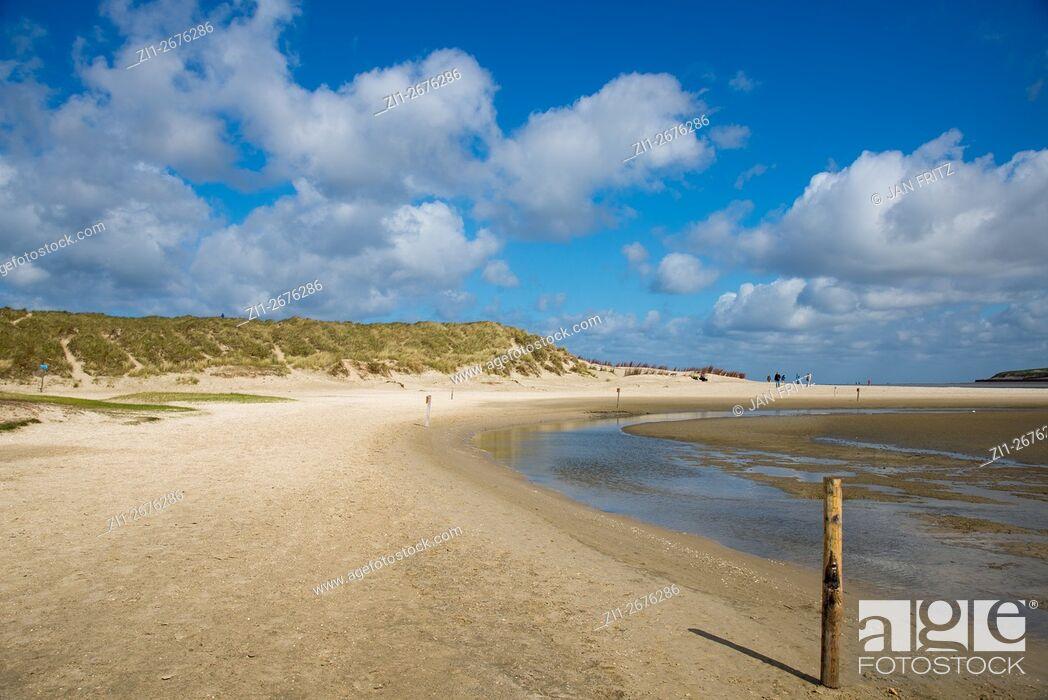 Stock Photo: beach and dunes at Slufter at Texel.
