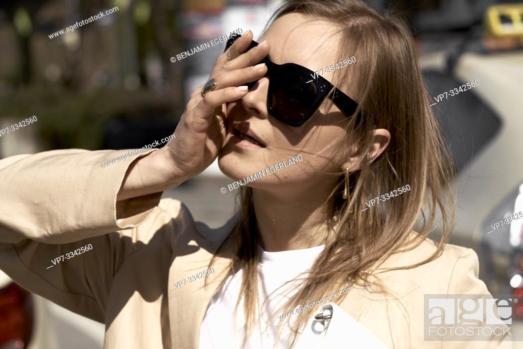 Stock Photo: emotive stylish woman, in Munich, Germany.