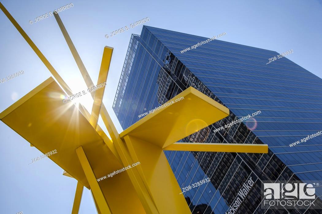 Stock Photo: Tatlin's Sentinel by John Henry, Arts District, Dallas, Texas, USA.
