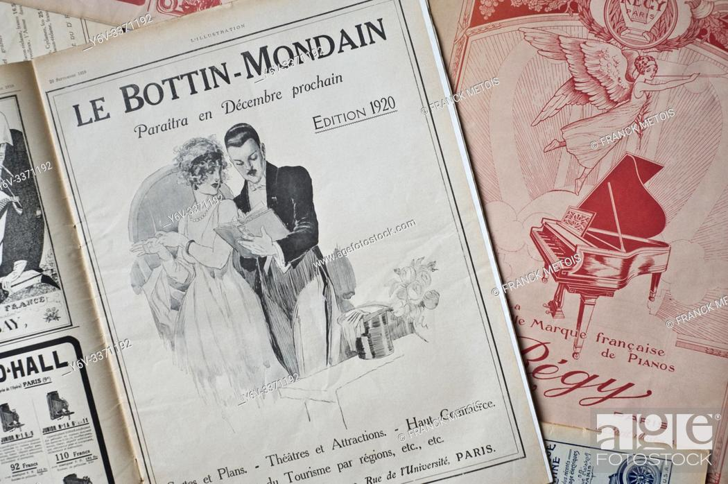 """Stock Photo: Newspaper illustration representing an advertisement for the """"""""bottin mondain"""""""", the french who's who ( France). The advertisement is drawn from the french."""