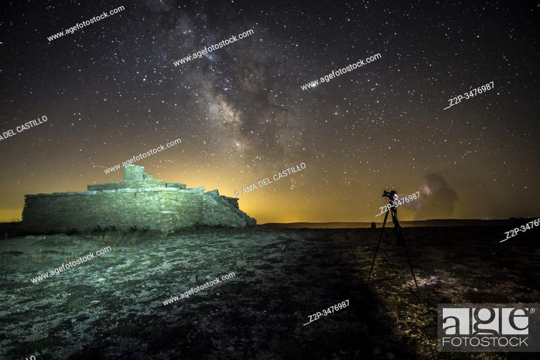 Stock Photo: Milky way in Gudar mountains Teruel Aragon Spain.