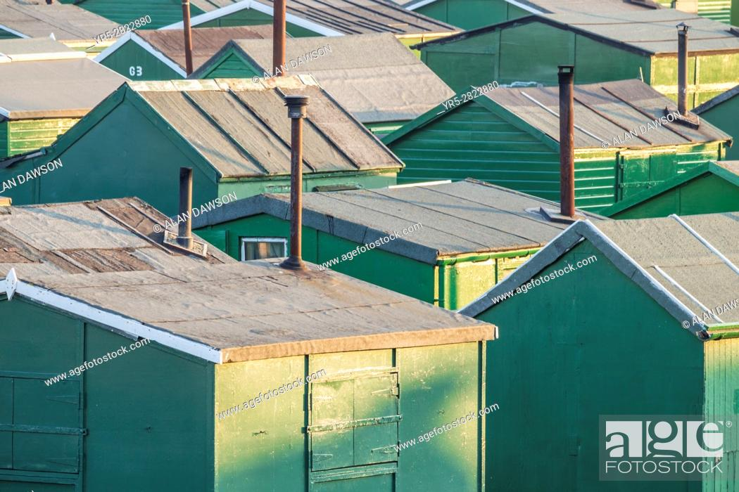 Stock Photo: Redcar, north east England. United Kingdom. Fishermans huts at the South Gare near Redcar on the north east coast of England.