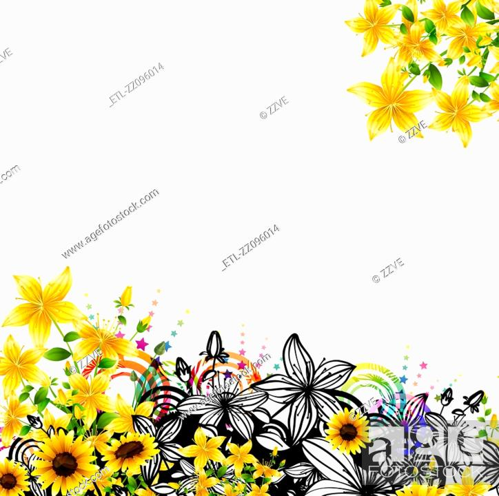 Stock Photo: label with flora design.
