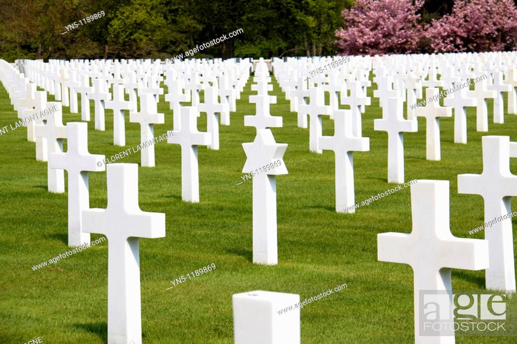 Stock Photo: France, Lorraine province, Departement of Vosges 88, Epinal   One of the most important american cemetery in France and in Europe following to the two world.