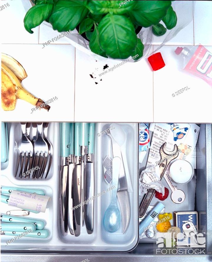 Stock Photo: Kitchen drawer.