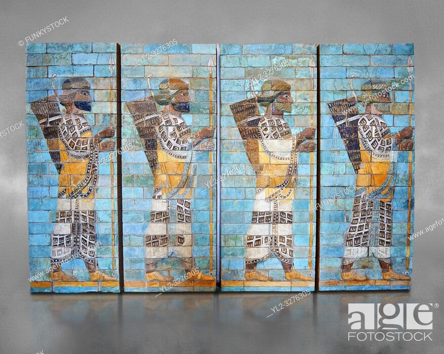 Stock Photo: Coloured glazed terracotta brick panels depicting Achaemenid Persian royal bodyguards or archers. From the reign of Darius 1st and the First Persian or.
