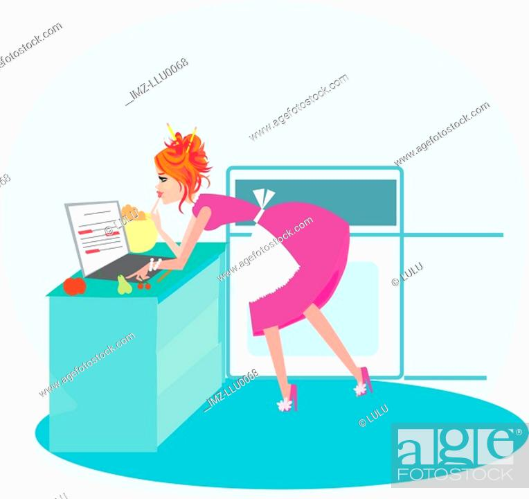 Stock Photo: A woman typing on her laptop while cooking.