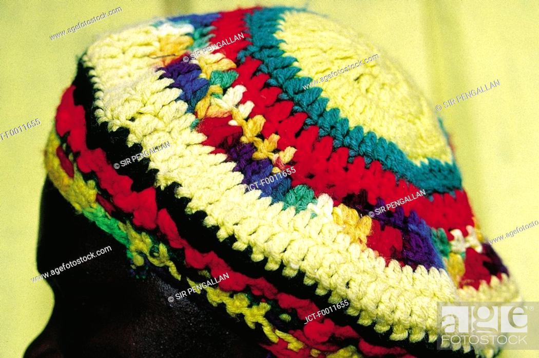 Stock Photo: Jamaica, Rasta man, close-up of knitted cap.
