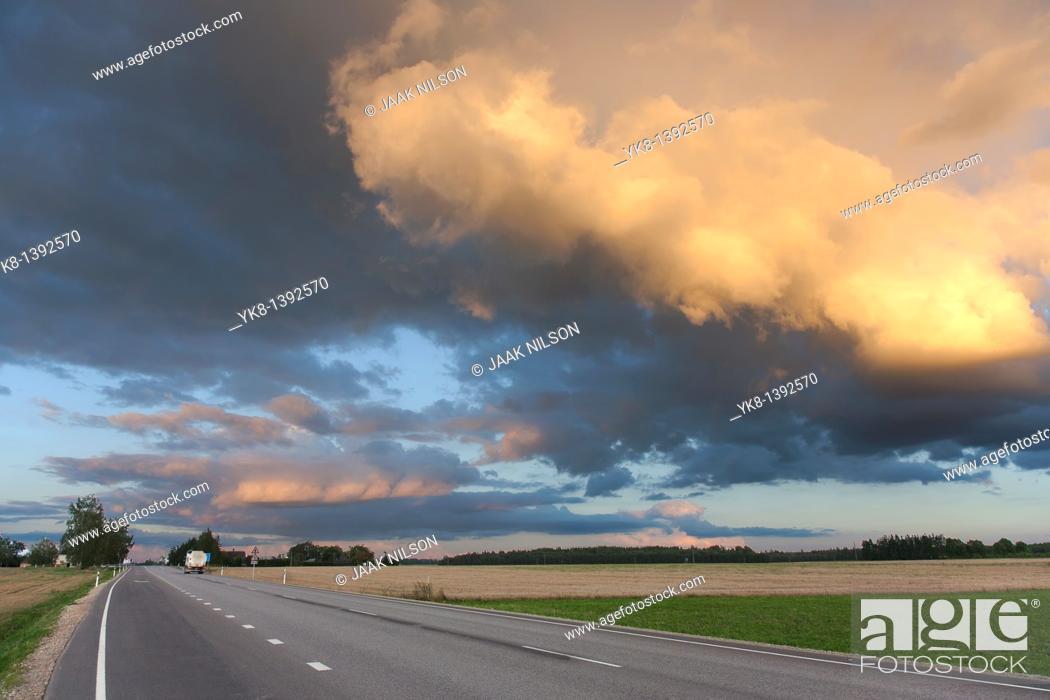 Stock Photo: Dramatic Low Clouds Over Highway, Estonia.