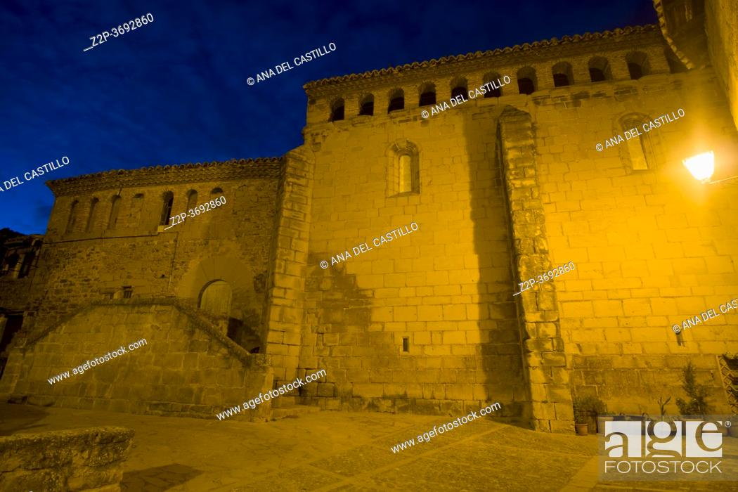 Stock Photo: Church in Aguero by night in the province of Huesca Aragon, Spain on August 18, 2020.