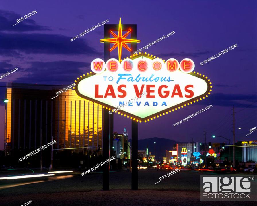Stock Photo: Neon Sign, The Strip, Las Vegas, Nevada, Usa.