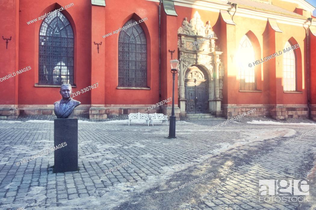 Stock Photo: Sankt Jakobs Kyrka (Saint James's Church) with bronze bust of Swedish tenor Jussi Bjorling, Stockholm, Sweden, Scandinavia.