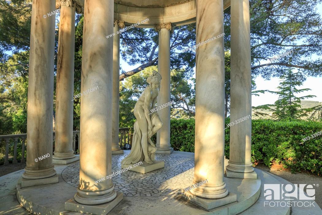 Stock Photo: France, Alpes Maritimes, Saint Jean Cap Ferrat, villa and gardens Ephrussi de Rothschild, Temple of Love in the French garden (obligatory mention of the garden.