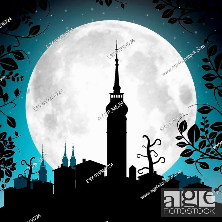 Stock Vector: Full Moon Vector Illustration with Town Silhouette - Houses and Tower.