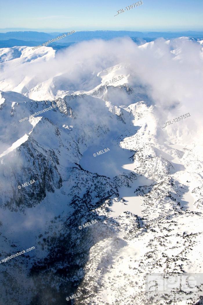 Stock Photo: Estany, aerial view  Aiguestortes National Park  Pyrenees  Lerida province  Catalonia  Spain.