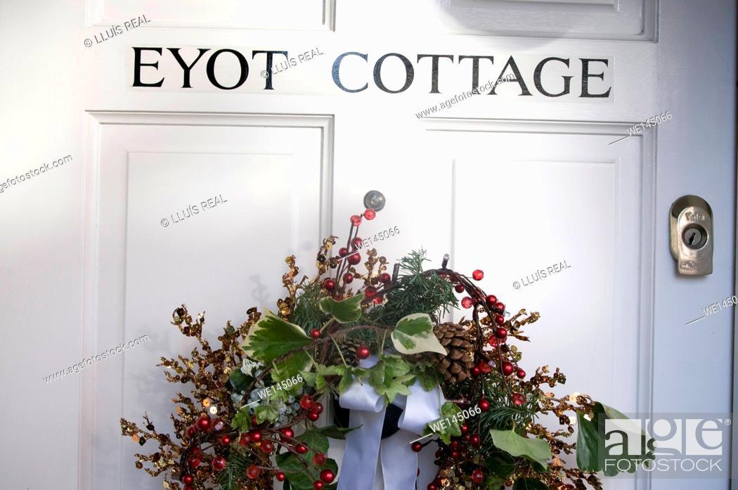 Stock Photo: Christmas decoration, door, Chelsea, London, England.