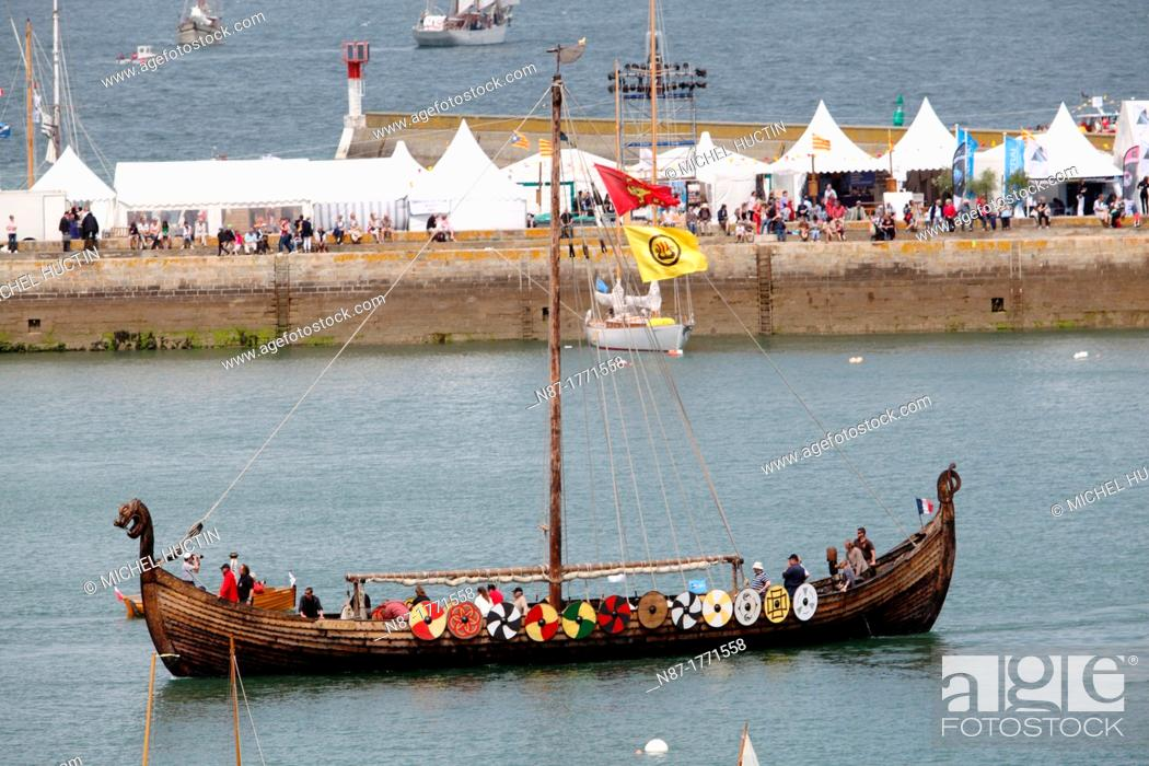 Stock Photo: Dreknor, replica of a Viking ship dating from year 850.