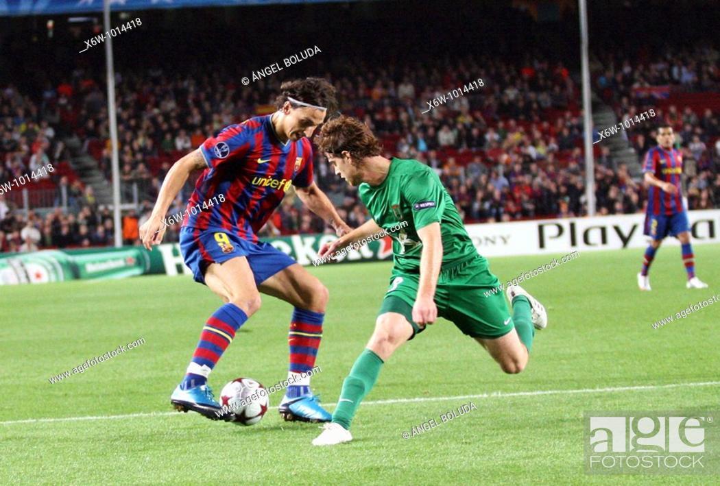 Stock Photo: Barcelona, Camp Nou Stadium, 20/10/2009, UEFA Champions League, FC Barcelona vs. FC Rubin Kazan, Ibrahimovic.