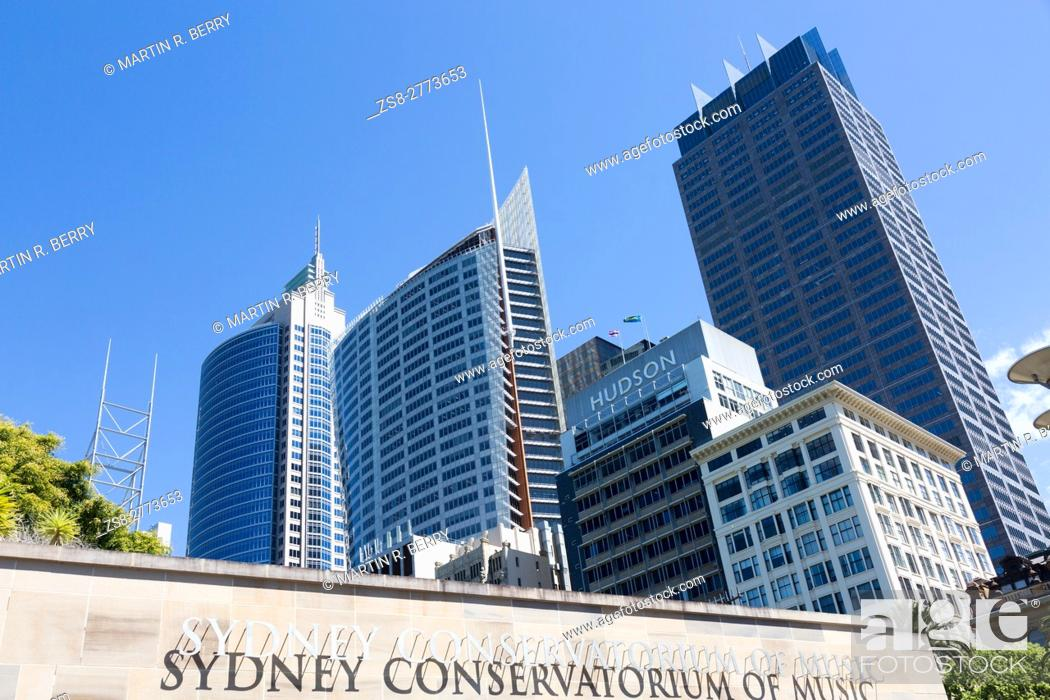 Stock Photo: High rise office towers on Macquarie street in Sydney central business district, Sydney, Australia.