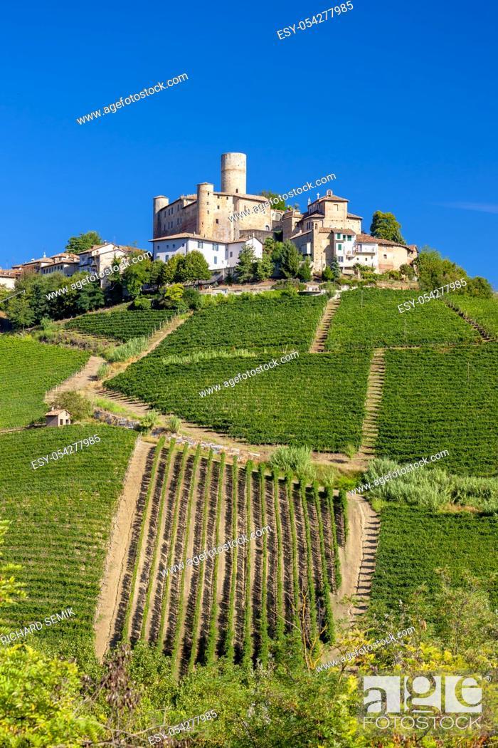 Stock Photo: Castle and village Castiglione Falletto, Piemonte, Italy.