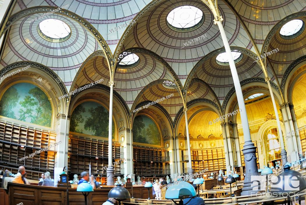 Stock Photo: Paris, France- Inside National French Library Oval Reading Room, Bibliotheque National de France, Richelieu Site  / Credit Architect/ J L  Pascal.