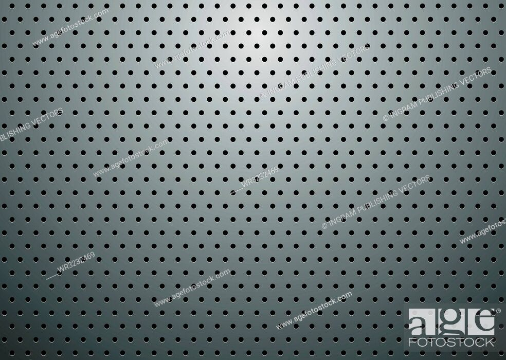 Vector: Abstract silver grill background with holes and reflective shadow.
