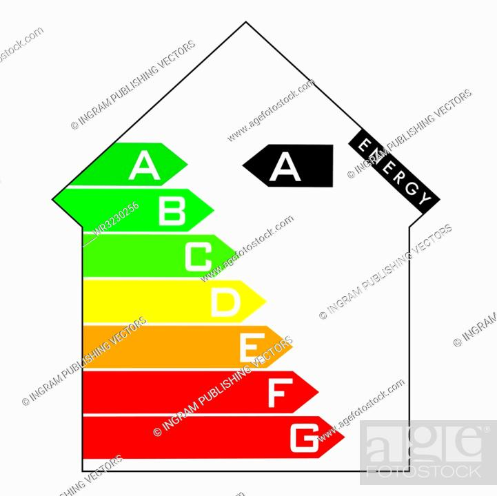 Stock Vector: Single illustrated energy house rating with colourful arrows.