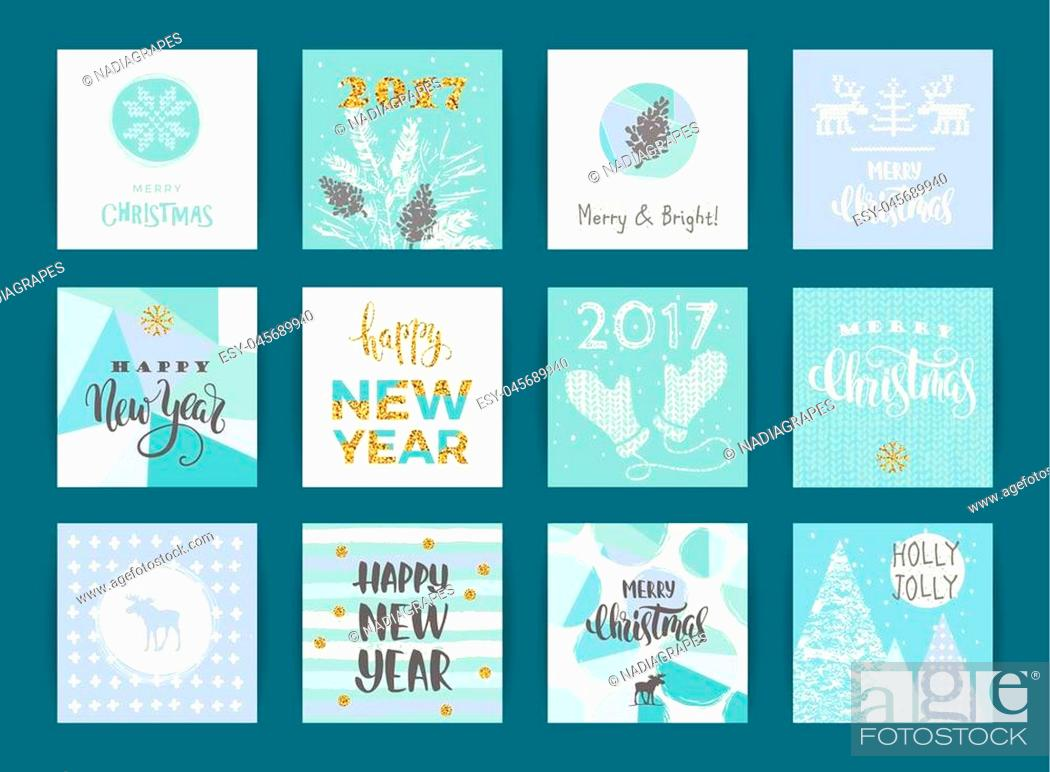 Stock Vector: Set of artistic creative Merry Christmas and New Year cards. Hand Drawn textures and brush lettering. Design for poster, card, invitation, placard, brochure.