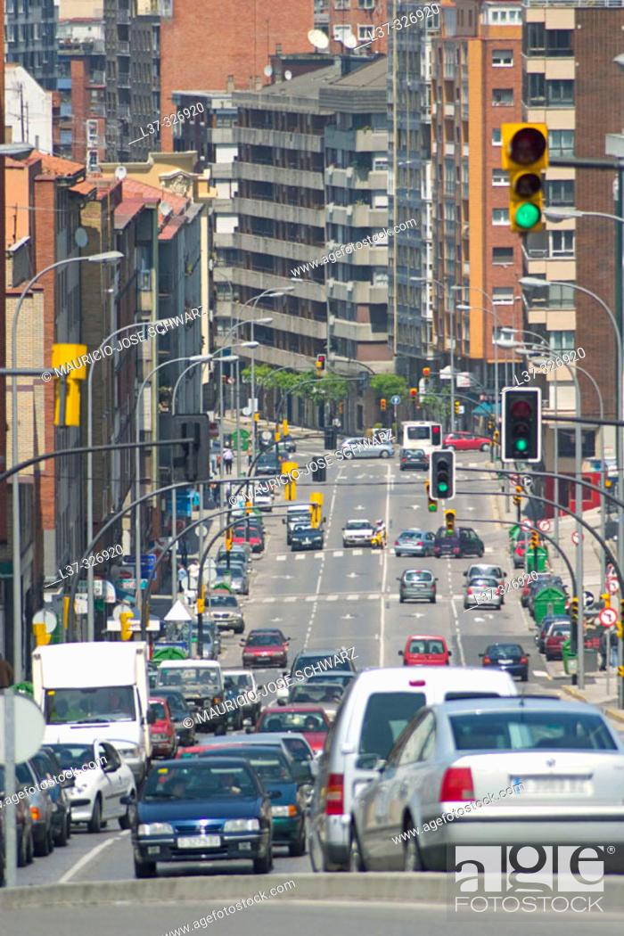 Stock Photo: Ramón y Cajal Street. Gijón. Asturias, Spain.