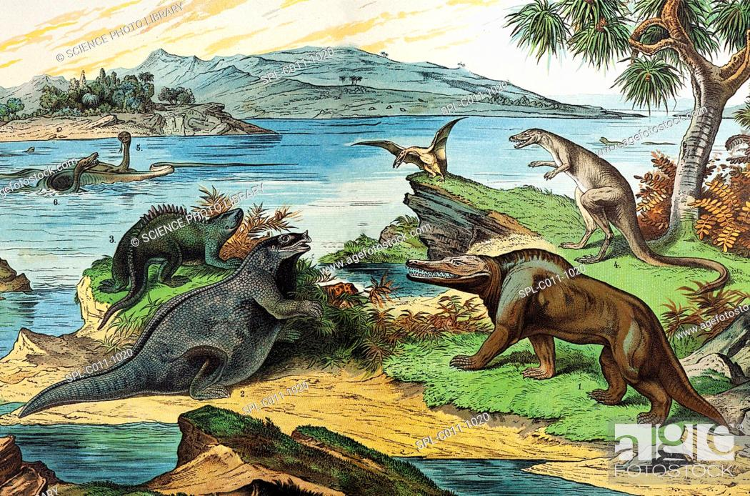 Photo de stock: 19th century lithograph of a Jurassic landscape including the dinosaurs: Megalosaurus 1, Iguanodon 2 with incorrect nose spike.