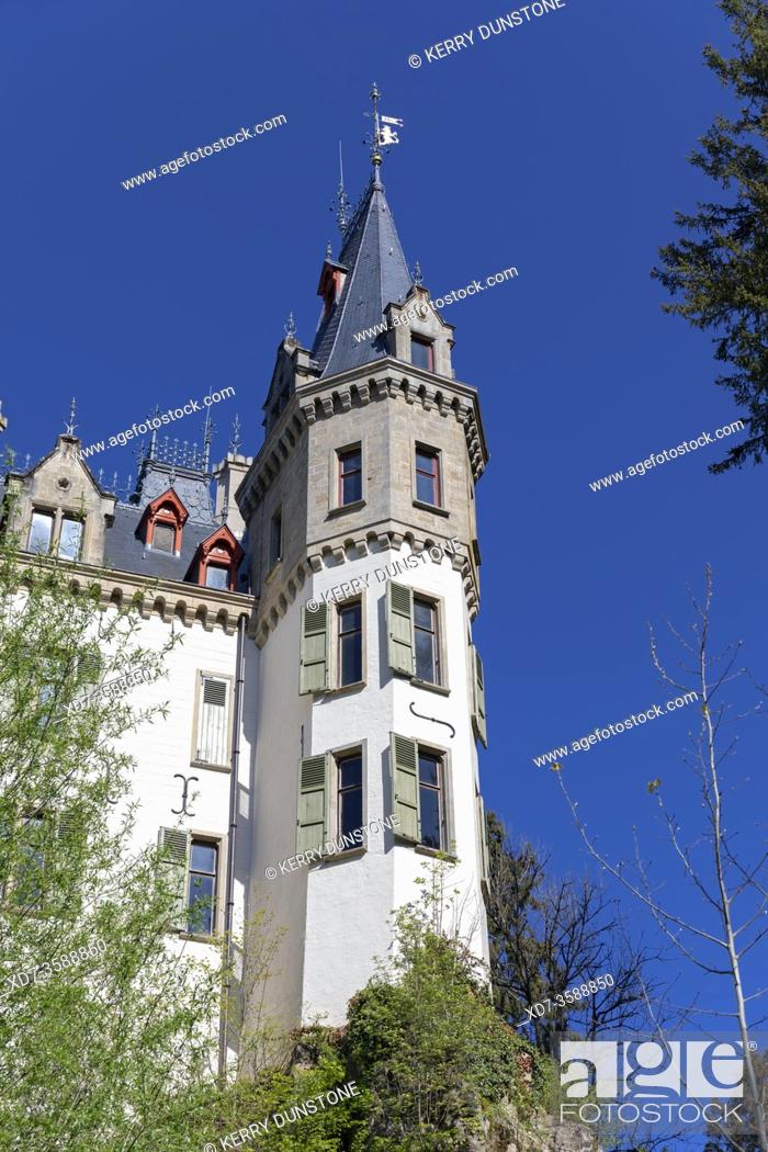 Stock Photo: Europe, Luxembourg, Larochette, Meysembourg Castle with Tower Detail.