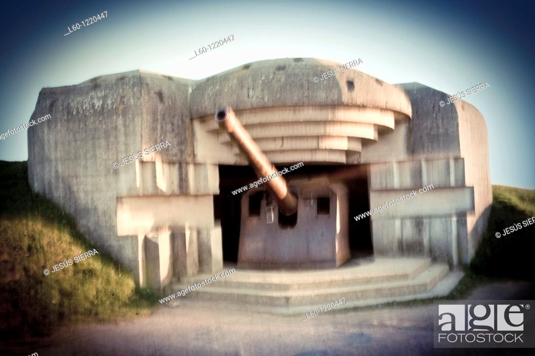Stock Photo: German battery in Longues sur Mer Calvados Normandy France.