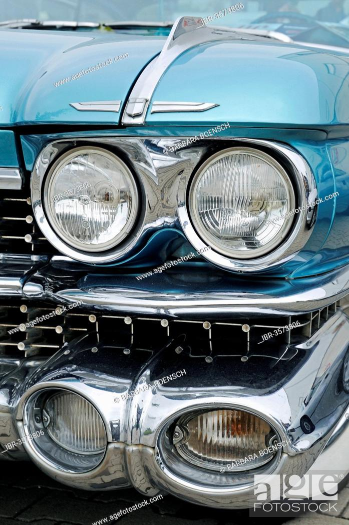 Stock Photo: Headlights, front view, Cadillac Coupe Series 62, American vintage car.