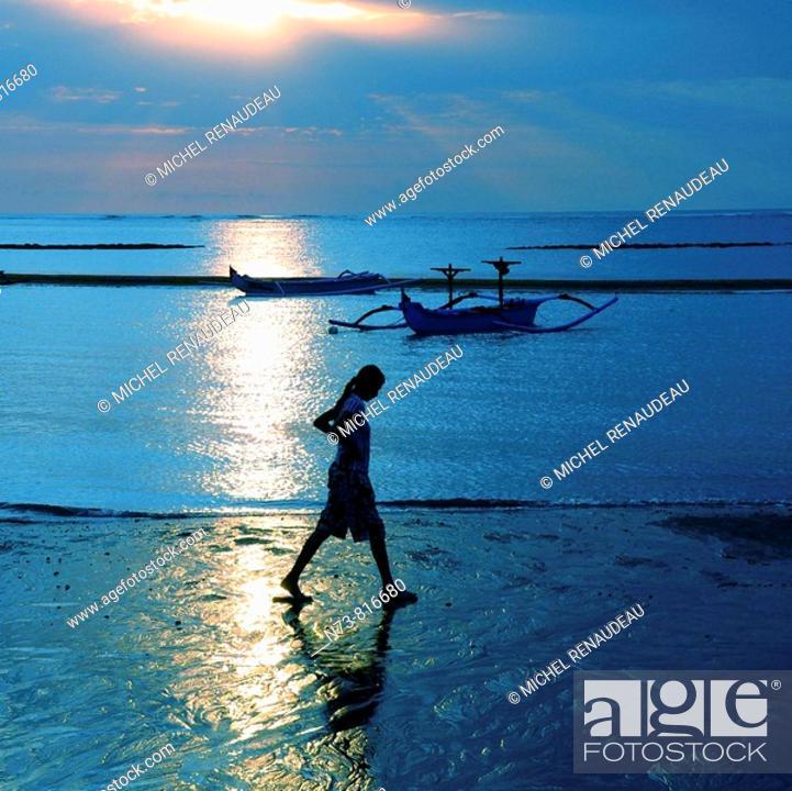 Stock Photo: Beach at sunset, Kuta, Bali, Indonesia.