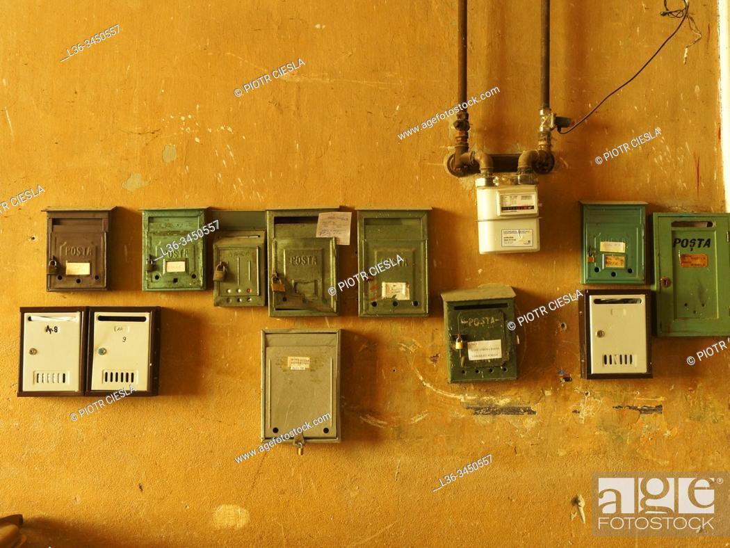 Stock Photo: Romania. Brasov. Old Town. Post boxes.