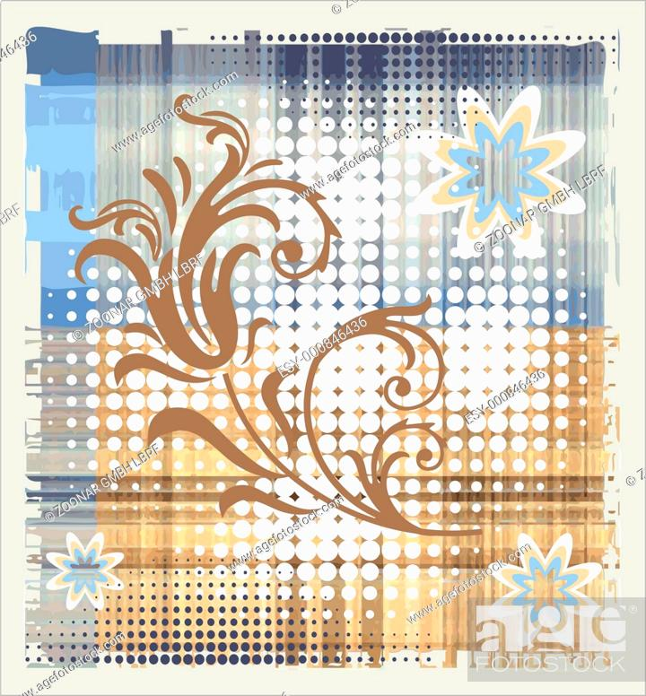 Stock Photo: floral element over halftone background.