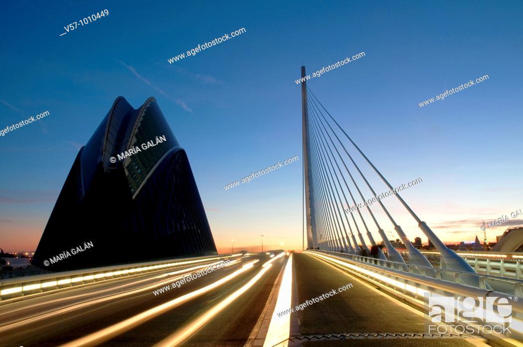 Stock Photo: L'Assut d'Or bridge and the Agora at evening, City of Arts and Sciences. Valencia, Comunidad Valenciana, Spain.