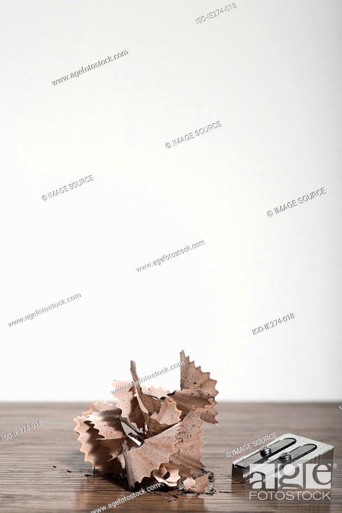 Stock Photo: Pencil sharpener and shavings.