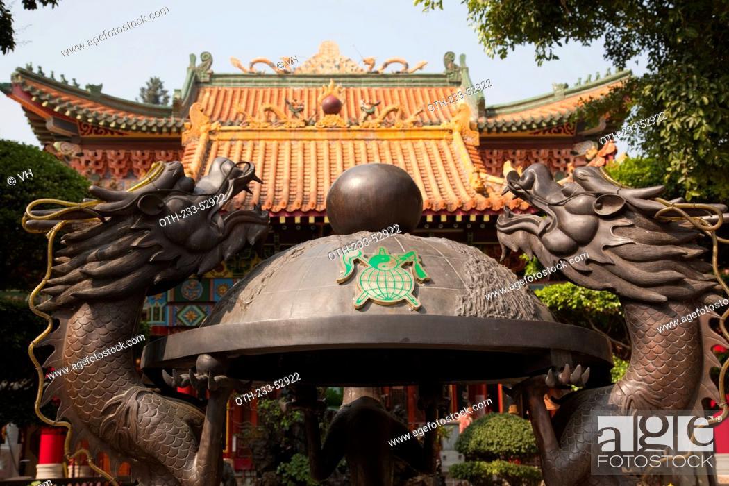 Stock Photo: Incense tripod at Tsing Chung temple, New Territories, Hong Kong.