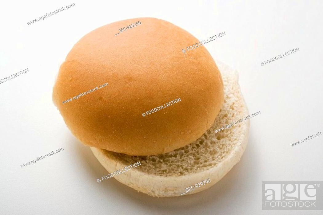 Stock Photo: A hamburger bun, split.