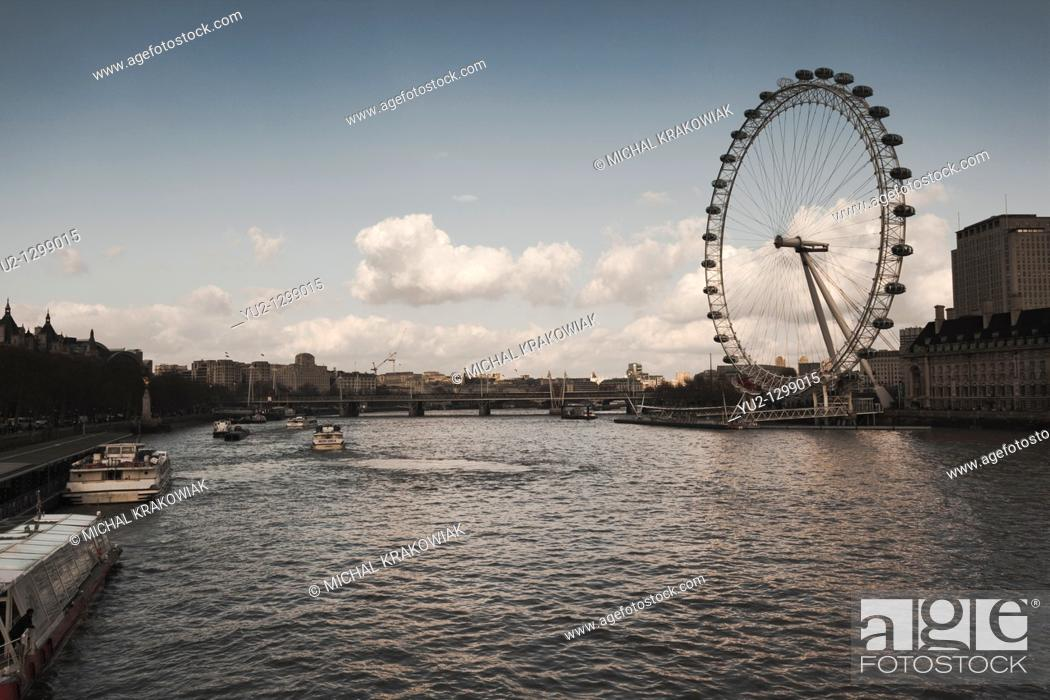 Stock Photo: View on Thames river and famous London Eye.