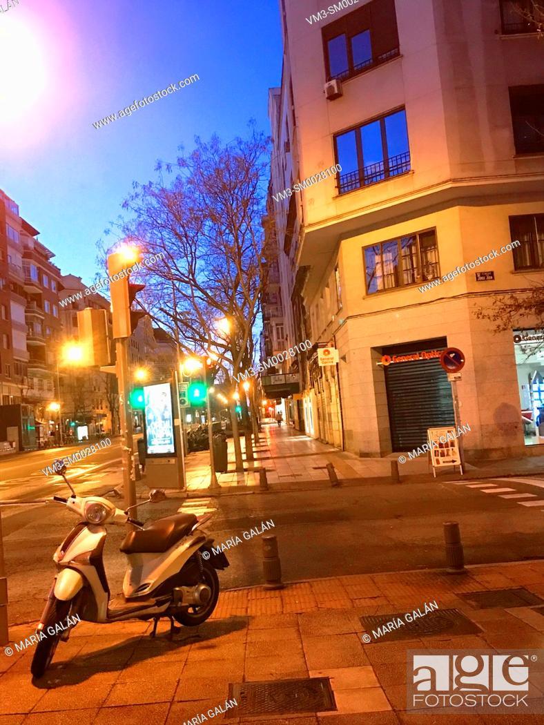 Stock Photo: Narvaez street, night view. Madrid, Spain.