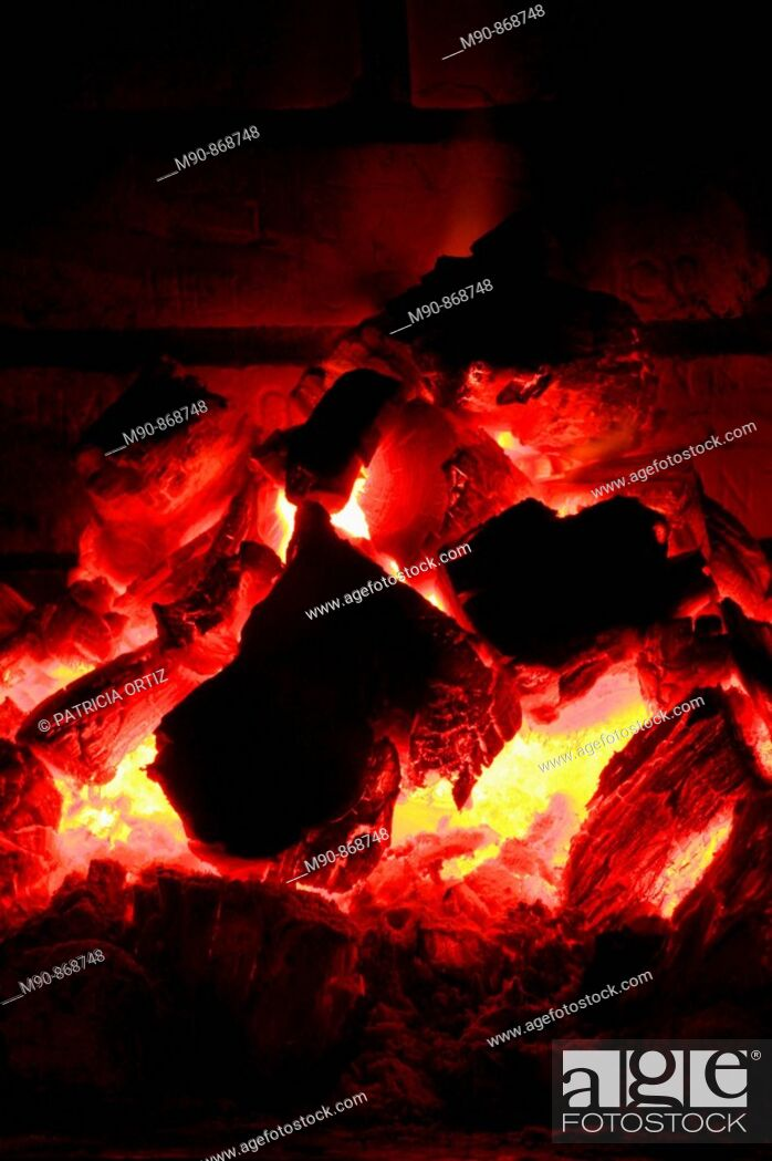 Stock Photo: Coal fire    in red tones!.