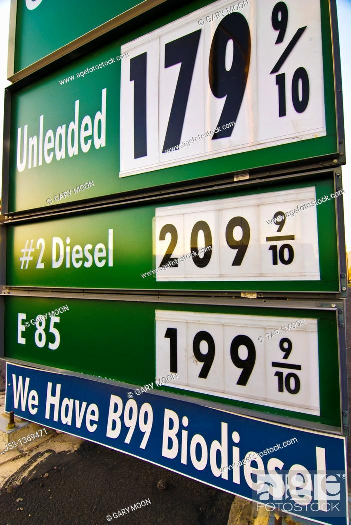 Price sign at gasoline station for 85 ethanol and biodiesel fuel for