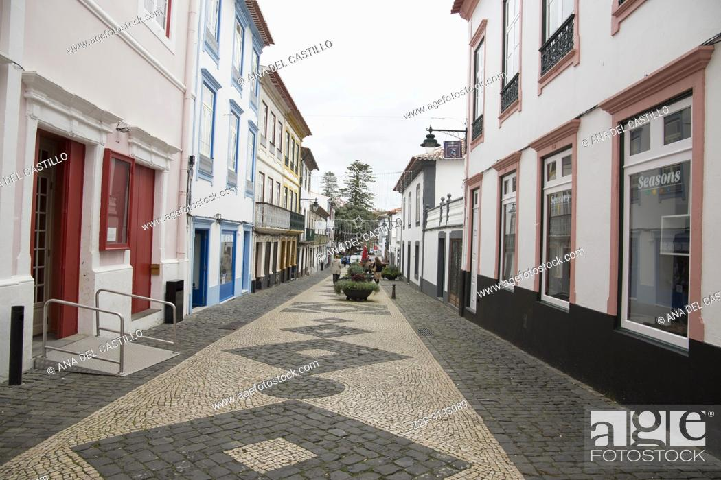 Stock Photo: Colorful facades in Angra do Heroismo is World Heritage site in Terceira island Azores islands Portugal.