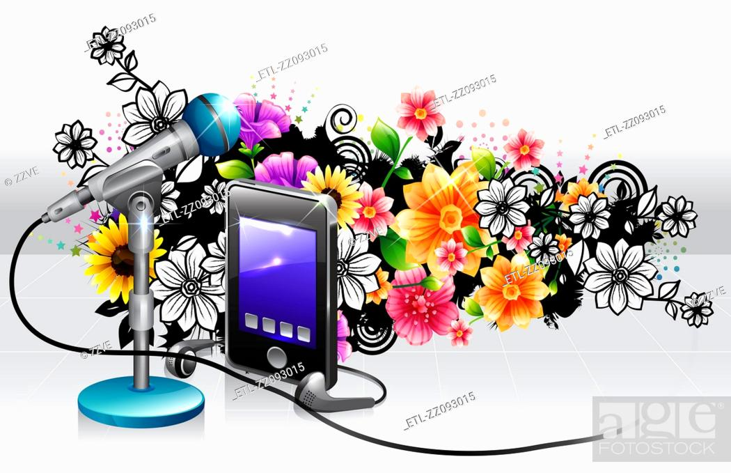 Stock Photo: Mp3 player and mike with flora design.