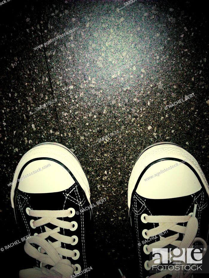 Stock Photo: black sneakers.