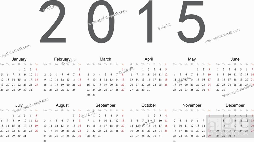 Vecteur de stock: European 2015 year vector calendar.