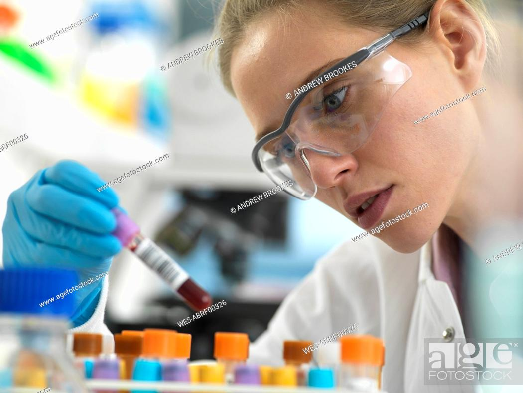 Stock Photo: Health Screening, Scientist holding a tube containing a blood sample ready for analysis in the laboratory.