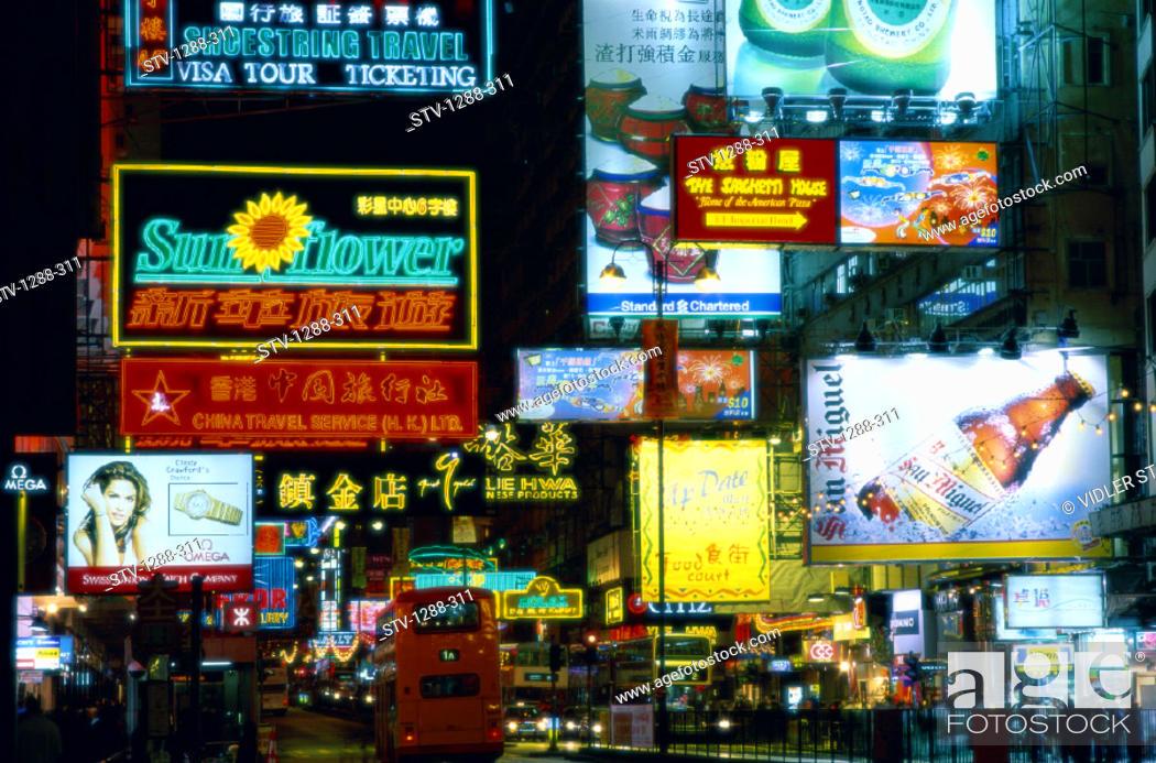 Stock Photo: Advertisements, Asia, Billboards, Bus, China, Holiday, Hong kong, Hongkong, Kowloon, Landmark, Nathan, Neon, Night, Road, Signs,.
